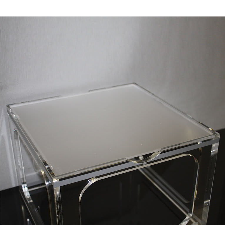 "Rosseto MFL0190 9"" Square Display Tray - Frosted Acrylic"