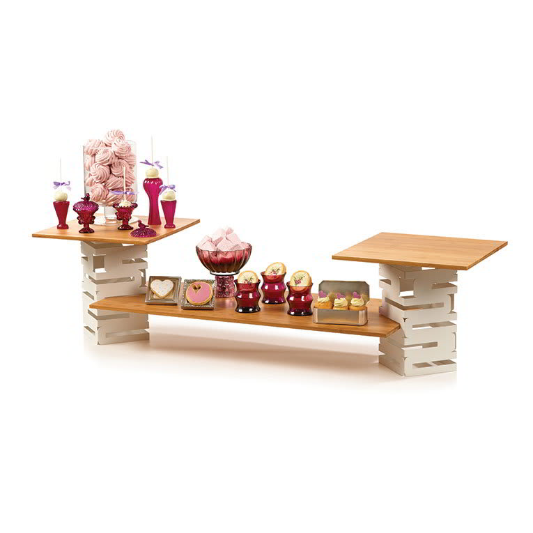 Rosseto SK004 5 Piece Multi-Level Riser Set - Bamboo/White