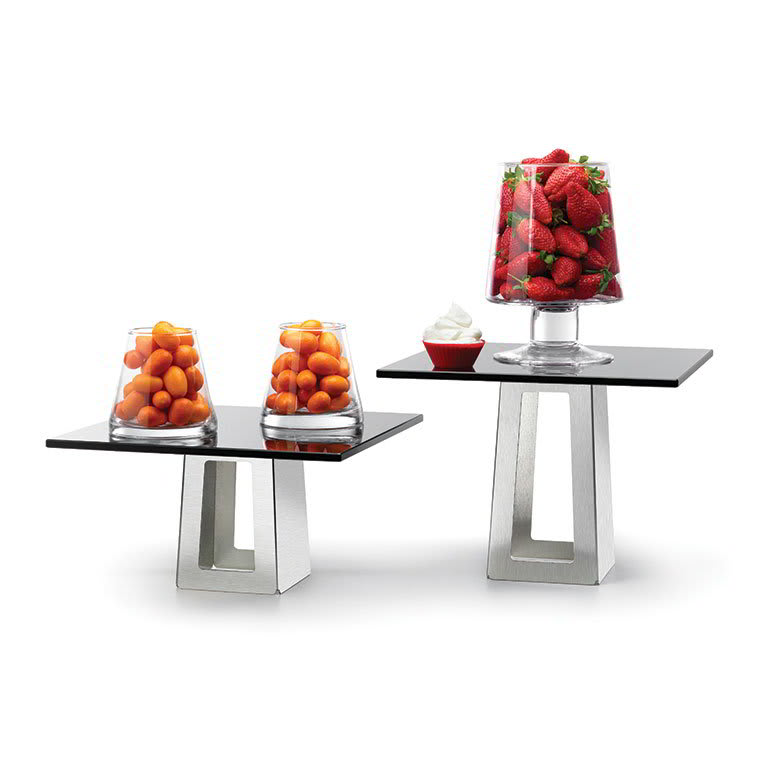 Rosseto SK005 4 Piece Pyramid Riser Display Set - Stainless/Black Glass