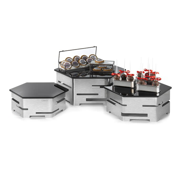 Rosseto SK012 6 Piece Centerpiece Riser Display Set - Stainless/Black Glass