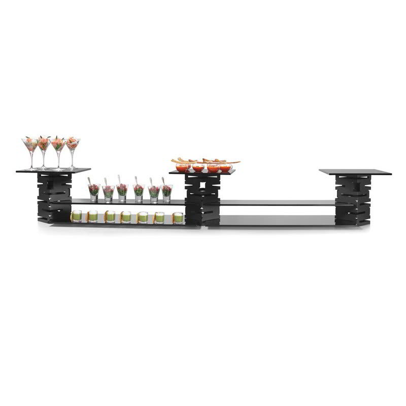 Rosseto SK022 10-Piece Display Riser Kit - Black/Black Glass