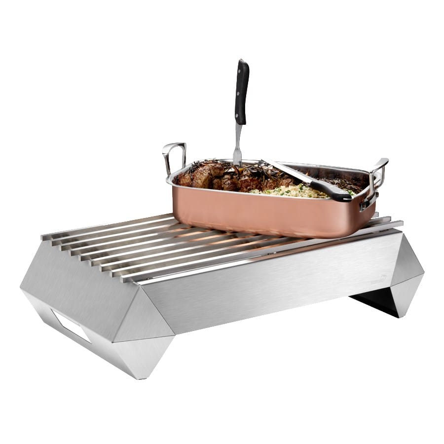 "Rosseto SK045 Rectangular Warmer w/ (1) Burner - 26"" x 15.75"", Brushed Stainless"