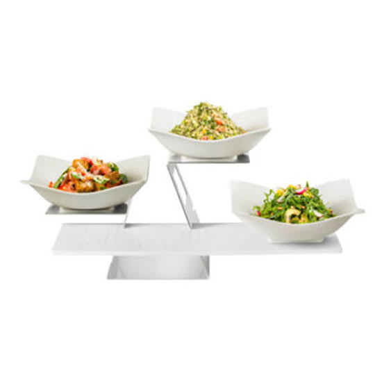 Rosseto SK048 2-Tier Display Riser Set w/ (2) Square Bowls & (1) Melamine Shelf, Stainless