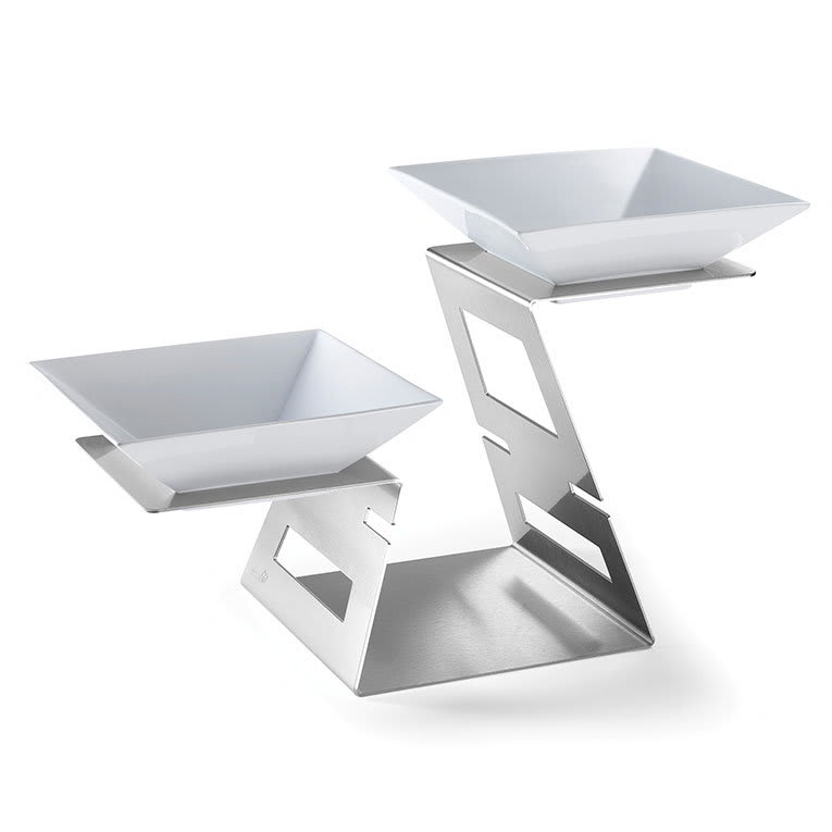 Rosseto SM221 2-Tier Swan Display Riser - (2)Bowls, Stainless