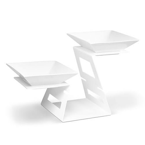Rosseto SM240 2-Tier Display Riser Set w/ (2) Square Porcelain Bowls - Steel, White