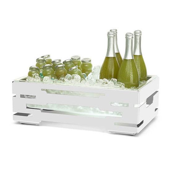 """Rosseto SM245 Rectangular Ice Tub w/ Acrylic Pan - 21.6"""" x 13.56"""" x 7"""", Stainless, White"""