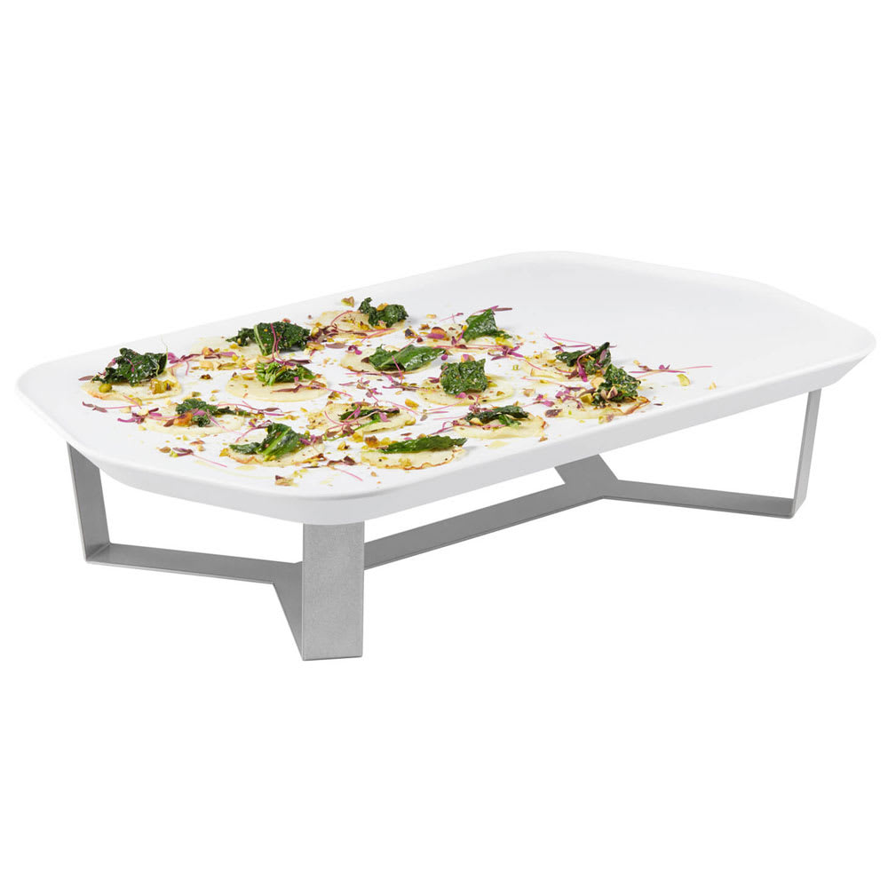 "Rosseto SM271 4"" Display Riser w/ 20.31"" x 12.43"" Melamine Tray, Stainless"