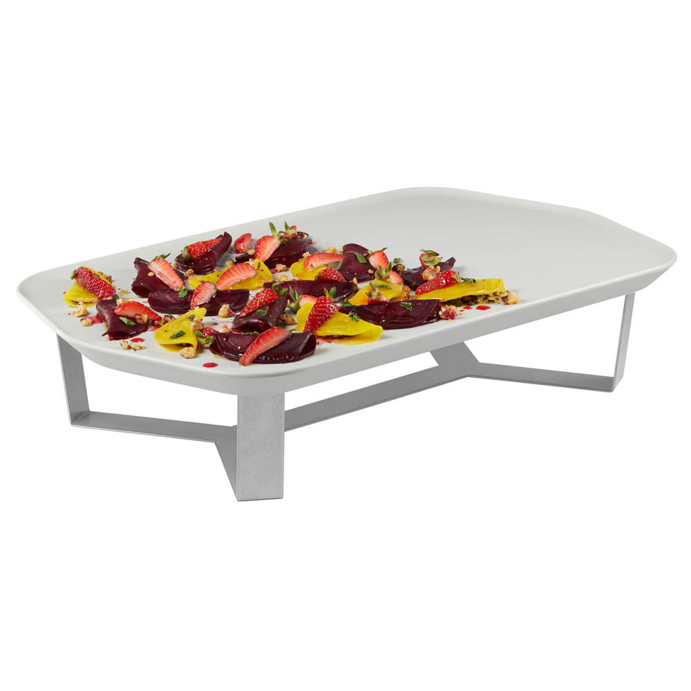 "Rosseto SM281 4"" Display Riser w/ 20.31"" x 12.43"" Melamine Tray, Stainless"