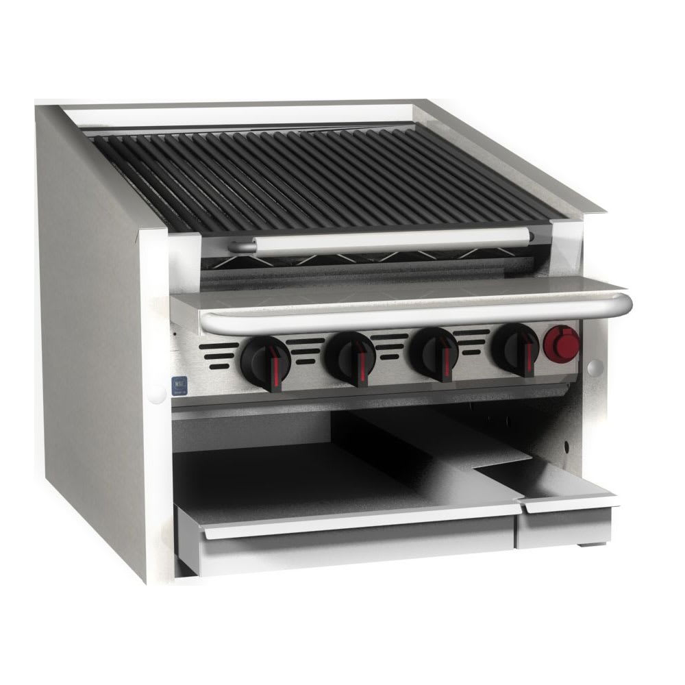 """Magikitch'n CM-RMB-624 24"""" Gas Charbroiler w/ Floating Steel Grates - Manual Controls"""