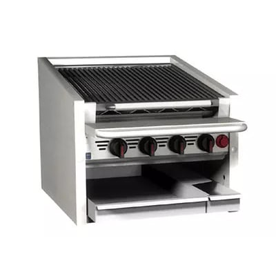 "Magikitch'n CM-SMB-624 24"" Counter Top Coal Charbroiler w/ Ceramic Briquettes & No Legs, NG"