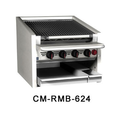 "Magikitch'n CM-SMB-630 30"" Countertop Coal Charbroiler w/ Ceramic Briquettes & No Legs, NG"