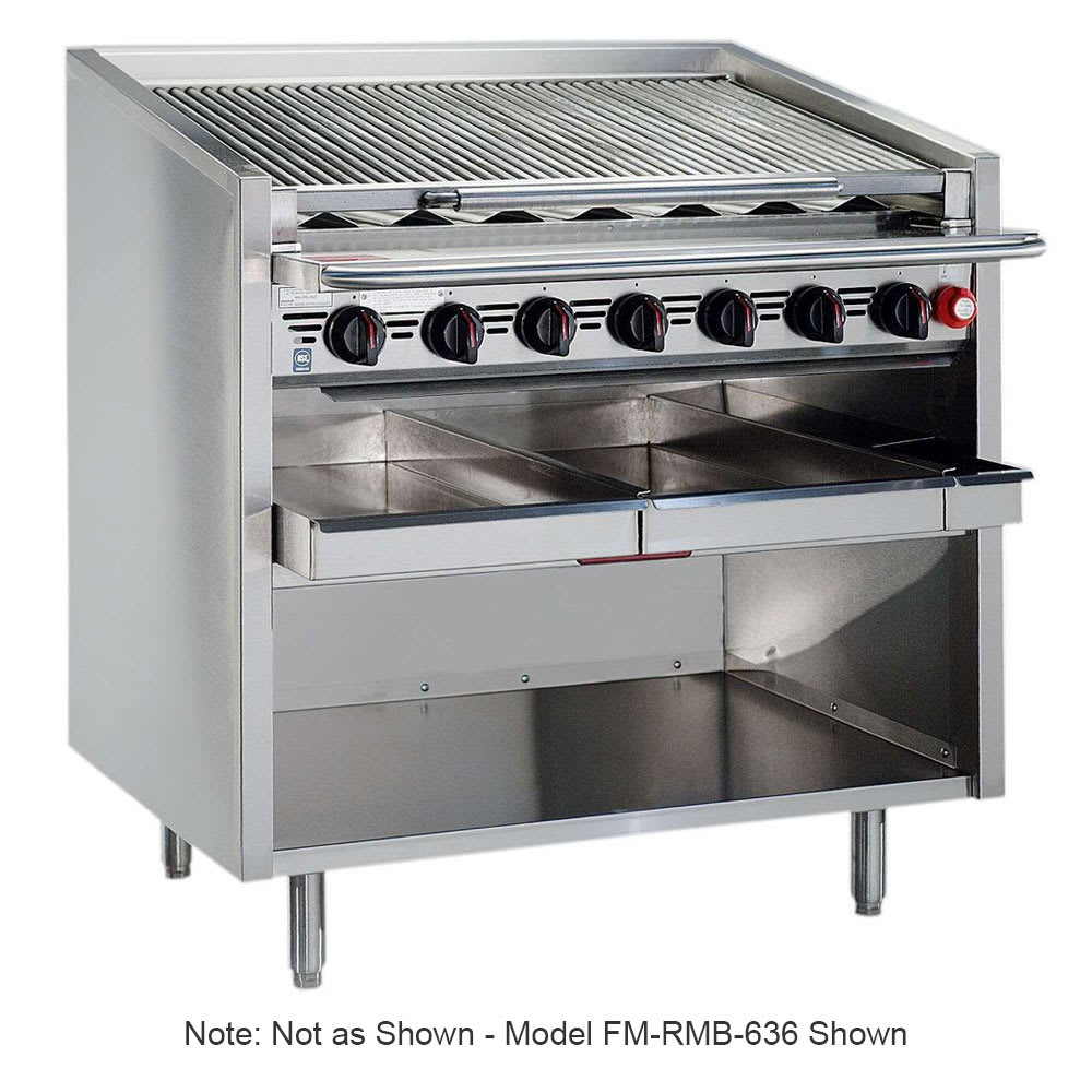 """Magikitch'n FM-RMB-648 48"""" Gas Charbroiler w/ Floating Steel Grates - Manual Controls, LP"""
