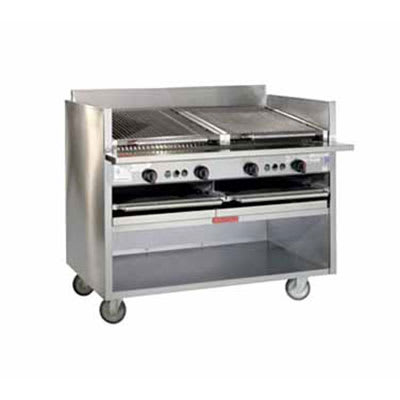 "Magikitch'n FM-SMB-630 30"" Floor Model Coal Charbroiler w/ Ceramic Briquettes, LP"
