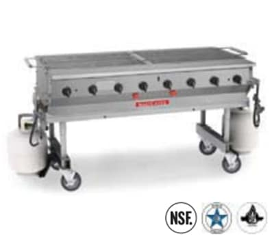 "Magikitch'n MCSS-30 30"" Mobile Gas Commercial Outdoor Grill w/ Water Pans, LP"