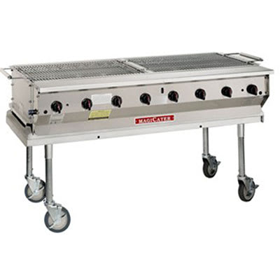 "Magikitch'n NPG-30 NG 30"" Mobile Gas Commercial Outdoor Grill w/ Water Pans, NG"