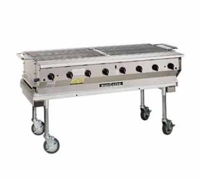 "Magikitch'n NPG60SS 60"" Mobile Gas Commercial Outdoor Grill w/ Water Pans, NG"