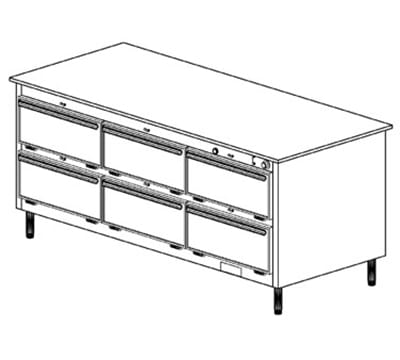 Duke 1103P 2401 Pass Thru Heated Holding Cabinet, 1-Thermostat Per 6-Compartment, Legs, 240/1 V