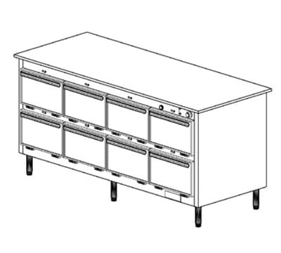 Duke 1204P 2083 Pass Thru Heated Holding Cabinet, 1-Thermostat Per 8-Compartments, 208/3 V