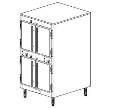 Duke 1262P 120 Pass Thru Heated Holding Cabinet, 1-Thermostat Per 2-Compartments, Legs, 120 V