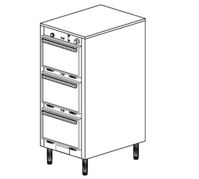 Duke 1303P 120 Pass Thru Heated Holding Cabinet, 1-Thermostat Per 3-Compartment, Legs, 120 V