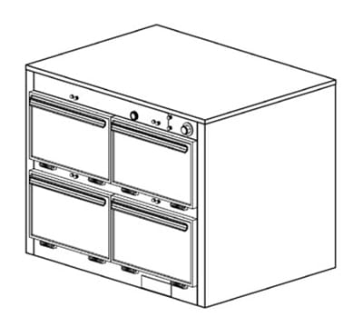 Duke 1304P 2081 Pass Thru Heated Holding Cabinet, 1-Thermostat Per 4-Compartment, 208/1 V