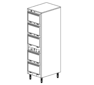 Duke 1305P 120 Pass Thru Heated Holding Cabinet, 2-Thermostat Per 5-Compartment, Legs, 120 V