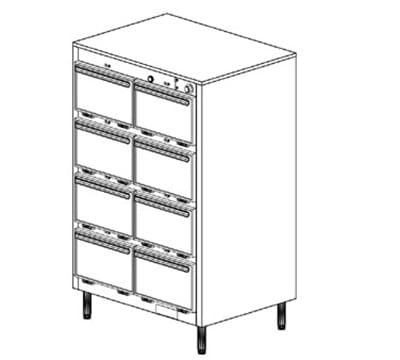 Duke 1308P 120 Pass Thru Heated Holding Cabinet, 1-Thermostat Per 8-Compartments, Legs, 120 V