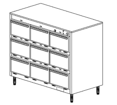 Duke 1309P 2081 Pass Thru Heated Holding Cabinet, 1-Thermostat Per 9-Compartments, Leg, 208/1 V