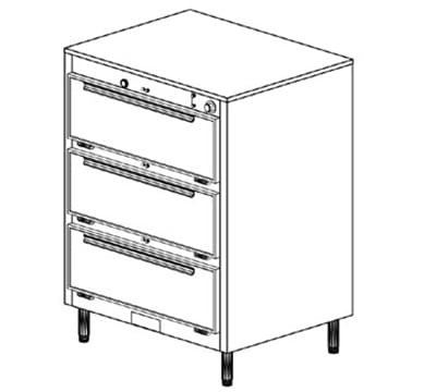 Duke 1353P 120 Pass Thru Heated Holding Cabinet, 1-Thermostat Per 3-Compartments, Legs, 120 V
