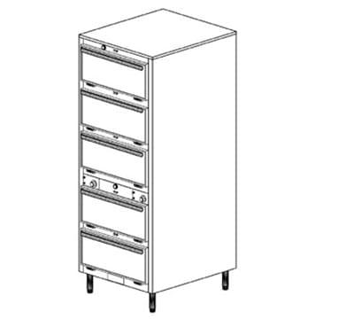 Duke 1455P 2401 Pass Thru Heated Holding Cabinet, 2-Thermostat Per 5-Compartments, Leg, 240/1 V