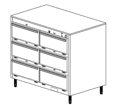 Duke 1456P 2083 Pass Thru Heated Cabinet, 1-Thermostat Per 6-Compartments, Legs, 208/3 V