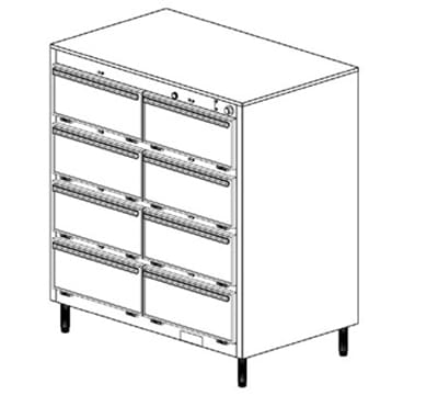 Duke 1458P2403 Pass Thru Heated Cabinet, 1-Thermostat Per 8-Compartments, Legs, 240/3 V