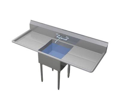"""Duke 161-224 64"""" 1-Compartment Sink w/ 16""""L x 21""""W Bowl, 11.5"""" Deep"""