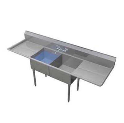 """Duke 162S-218 68"""" 2-Compartment Sink w/ 16""""L x 21""""W Bowl, 14"""" Deep"""