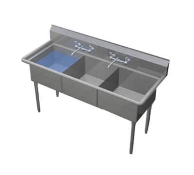 """Duke 163-NDB 53.75"""" 3-Compartment Sink w/ 16""""L x 21""""W Bowl, 11.5"""" Deep"""