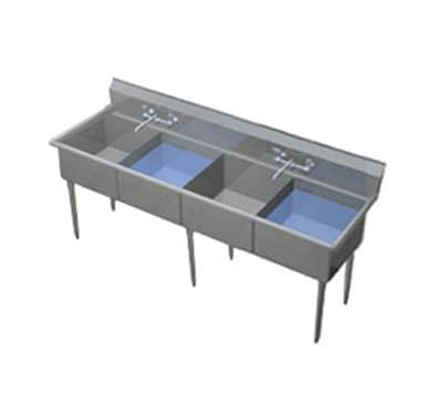 """Duke 164S-NDB 69.75"""" 4-Compartment Sink w/ 16""""L x 21""""W Bowl, 14"""" Deep"""