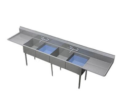 """Duke 204-236 152"""" 4-Compartment Sink w/ 20""""L x 20""""W Bowl, 11.5"""" Deep"""