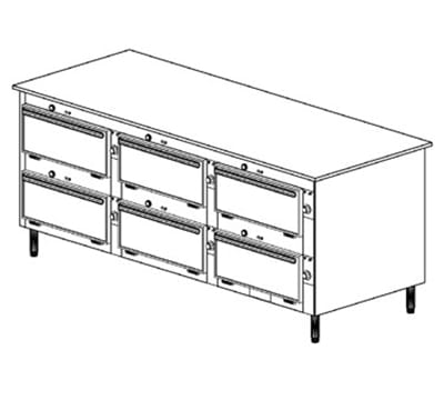 "Duke 2103P 120 Pass Thru Heated Cabinet, Stainless Work Top, 6"" Legs, 120 V"