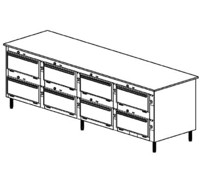 "Duke 2104P 2401 Pass Thru Heated Cabinet, 1-Thermostat Per 8-Compartment, 9x22x28.5"", 240/1 V"