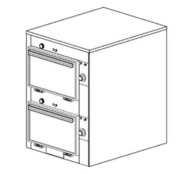 "Duke 2302P 2401 Pass Thru Heated Cabinet, 1-Thermostat Per 2-Compartment, 9X14X23.5"", 240/1 V"