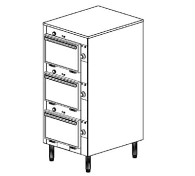 "Duke 2303P 2403 Pass Thru Heated Cabinet, 1-Thermostat Per 3-Compartment, 9X14X23.5"", 240/3 V"