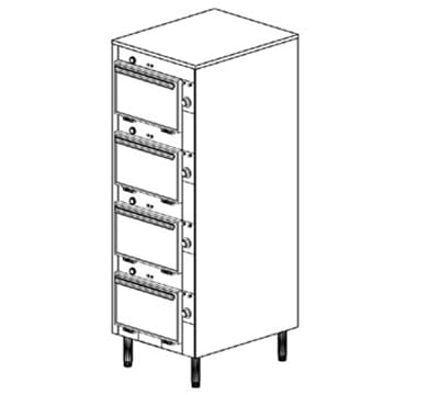 "Duke 2304 2403 Reach In Heated Cabinet, 1-Thermostat Per 4-Compartment, 6"" Legs, 240/3 V"