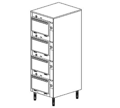 "Duke 2304P 120 Pass Thru Cabinet, 1-Thermostat Per 4-Compartment, Legs, 9X14X23.5"", 120 V"