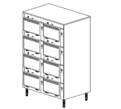 Duke 2308P 2403 Pass Thru Heated Cabinet, 1-Thermostat Per 8-Compartment, Legs, 240/3 V