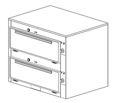 "Duke 2352P 120 Pass Thru Heated Cabinet, 1-Thermostat Per 2-Compartment, 9x29x28.5"", 120 V"