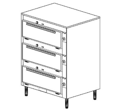 Duke 2353P 2083 Pass Thru Heated Cabinet, 1-Thermostat Per 3-Compartment, Legs, 208/3 V