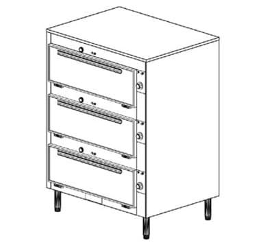 Duke 2353P 2403 Pass Thru Heated Cabinet, 1-Thermostat Per 3-Compartment, Legs, 240/3 V