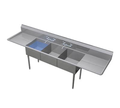 """Duke 243S-224 120"""" 3-Compartment Sink w/ 24""""L x 24""""W Bowl, 14"""" Deep"""