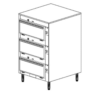 Duke 2453P 2401 Pass Thru Heated Cabinet, 1-Thermostat Per 2-Compartment, Legs, 240/1 V