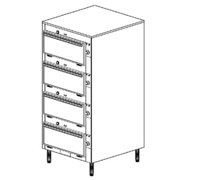 Duke 2454P 2401 Pass Thru Heated Cabinet, Individual Thermostat Control, Legs, 240/1 V